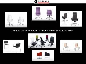 Exposición de sillas para oficina